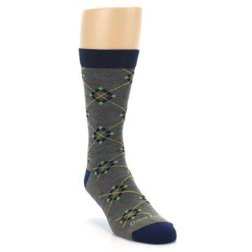 Image of Grey Navy Argyle Wool Men's Socks (side-1-front-02)