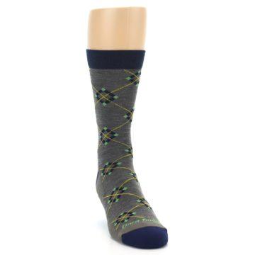 Image of Grey Navy Argyle Wool Men's Socks (side-1-front-03)