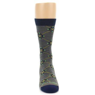 Image of Grey Navy Argyle Wool Men's Socks (front-04)