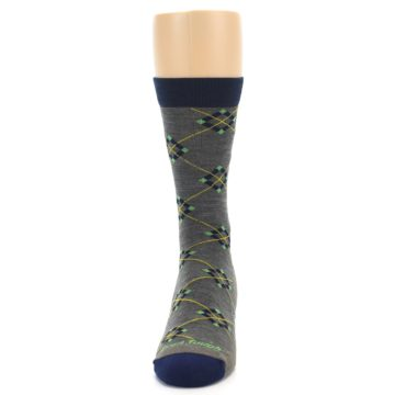 Image of Grey Navy Argyle Wool Men's Socks (front-05)