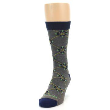 Image of Grey Navy Argyle Wool Men's Socks (side-2-front-06)