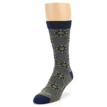 Image of Grey Navy Argyle Wool Men's Socks (side-2-front-07)