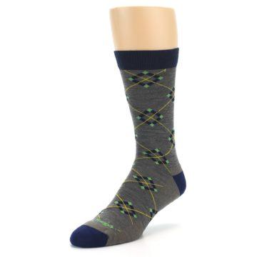 Image of Grey Navy Argyle Wool Men's Socks (side-2-front-08)