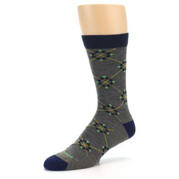 Image of Grey Navy Argyle Wool Men's Socks (side-2-09)