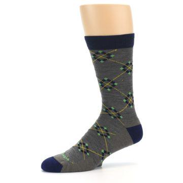 Image of Grey Navy Argyle Wool Men's Socks (side-2-10)