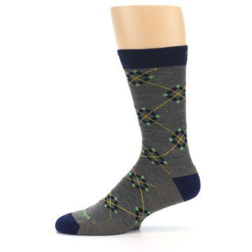 Image of Grey Navy Argyle Wool Men's Socks (side-2-11)
