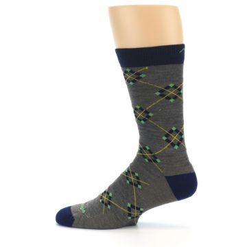 Image of Grey Navy Argyle Wool Men's Socks (side-2-12)