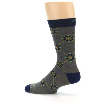 Image of Grey Navy Argyle Wool Men's Socks (side-2-13)