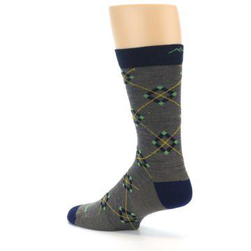 Image of Grey Navy Argyle Wool Men's Socks (side-2-back-14)