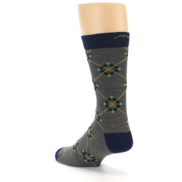 Image of Grey Navy Argyle Wool Men's Socks (side-2-back-15)