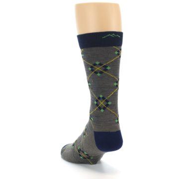 Image of Grey Navy Argyle Wool Men's Socks (side-2-back-16)