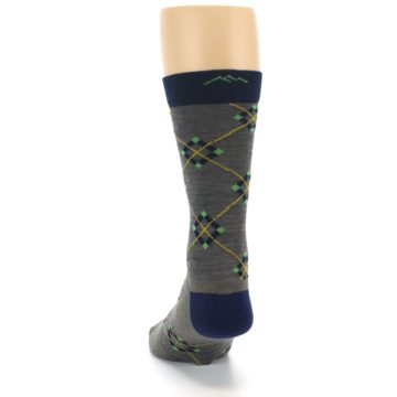 Image of Grey Navy Argyle Wool Men's Socks (back-17)