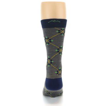 Image of Grey Navy Argyle Wool Men's Socks (back-18)
