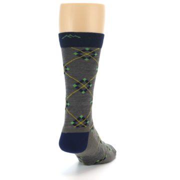 Image of Grey Navy Argyle Wool Men's Socks (side-1-back-20)
