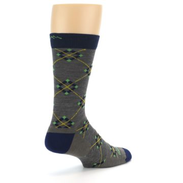 Image of Grey Navy Argyle Wool Men's Socks (side-1-back-22)