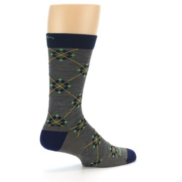 Image of Grey Navy Argyle Wool Men's Socks (side-1-23)