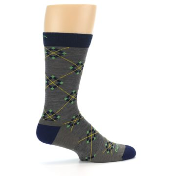 Image of Grey Navy Argyle Wool Men's Socks (side-1-24)