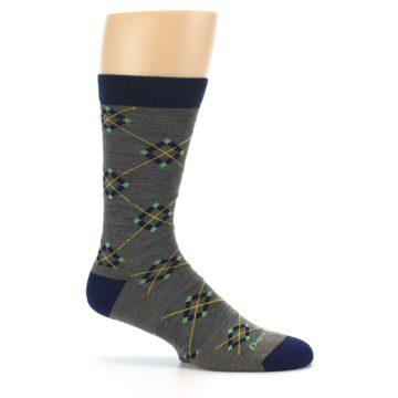 Image of Grey Navy Argyle Wool Men's Socks (side-1-25)