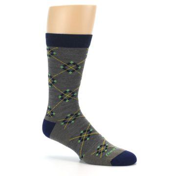 Image of Grey Navy Argyle Wool Men's Socks (side-1-26)