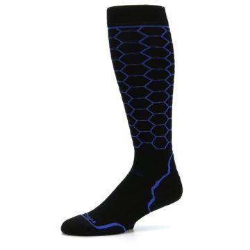 Image of Black Honeycomb Wool Men's Over-the-Calf Ski Socks (side-2-10)
