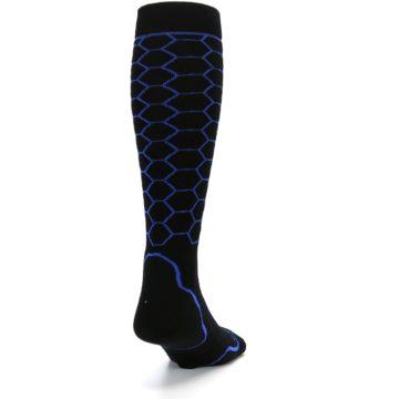 Image of Black Honeycomb Wool Men's Over-the-Calf Ski Socks (side-1-back-20)