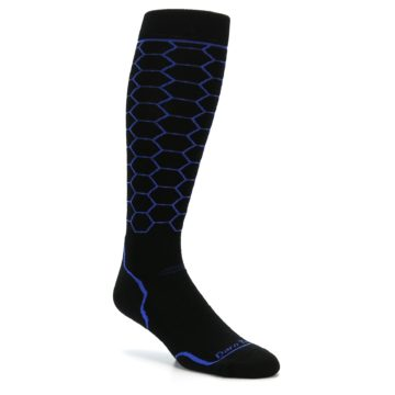 Image of Black Honeycomb Wool Men's Over-the-Calf Ski Socks (side-1-27)