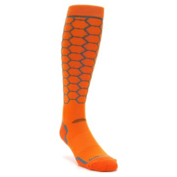 Image of Orange Honeycomb Wool Men's Over-the-Calf Ski Socks (side-1-front-02)