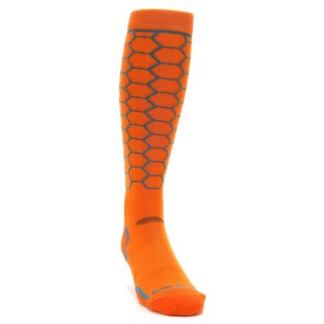 Image of Orange Honeycomb Wool Men's Over-the-Calf Ski Socks (side-1-front-03)