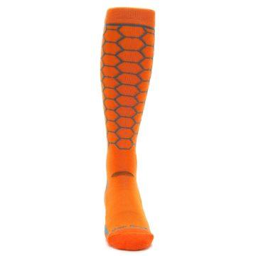 Image of Orange Honeycomb Wool Men's Over-the-Calf Ski Socks (front-04)