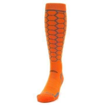 Image of Orange Honeycomb Wool Men's Over-the-Calf Ski Socks (side-2-front-06)