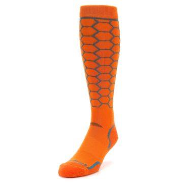 Image of Orange Honeycomb Wool Men's Over-the-Calf Ski Socks (side-2-front-07)
