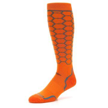Image of Orange Honeycomb Wool Men's Over-the-Calf Ski Socks (side-2-09)