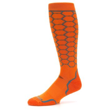 Image of Orange Honeycomb Wool Men's Over-the-Calf Ski Socks (side-2-10)