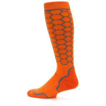 Image of Orange Honeycomb Wool Men's Over-the-Calf Ski Socks (side-2-13)