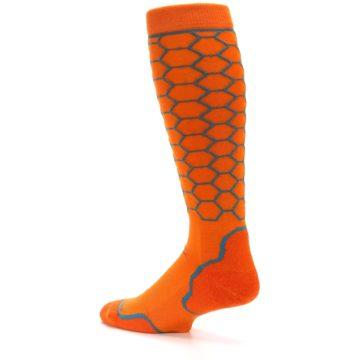 Image of Orange Honeycomb Wool Men's Over-the-Calf Ski Socks (side-2-back-14)