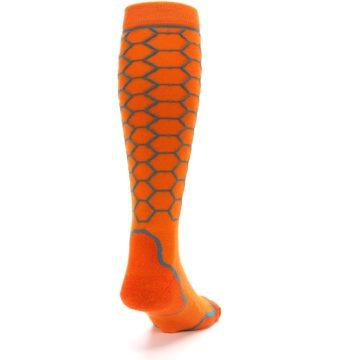 Image of Orange Honeycomb Wool Men's Over-the-Calf Ski Socks (side-1-back-20)