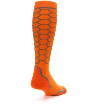 Image of Orange Honeycomb Wool Men's Over-the-Calf Ski Socks (side-1-back-21)