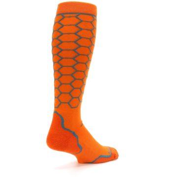 Image of Orange Honeycomb Wool Men's Over-the-Calf Ski Socks (side-1-back-22)
