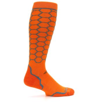 Image of Orange Honeycomb Wool Men's Over-the-Calf Ski Socks (side-1-24)
