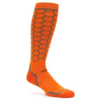 Image of Orange Honeycomb Wool Men's Over-the-Calf Ski Socks (side-1-26)
