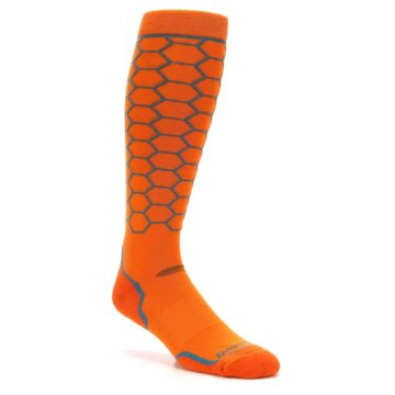 Image of Orange Honeycomb Wool Men's Over-the-Calf Ski Socks (side-1-27)