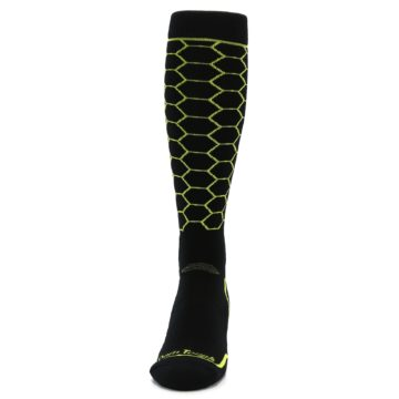 Image of Black Lime Honeycomb Wool Men's Over-the-Calf Ski Socks (front-05)