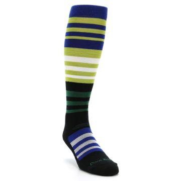 Image of Lime Blue Stripe Wool Men's Over-the-Calf Ski Socks (side-1-front-02)