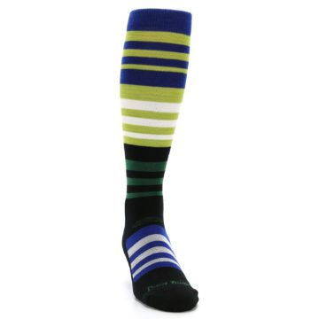 Image of Lime Blue Stripe Wool Men's Over-the-Calf Ski Socks (side-1-front-03)