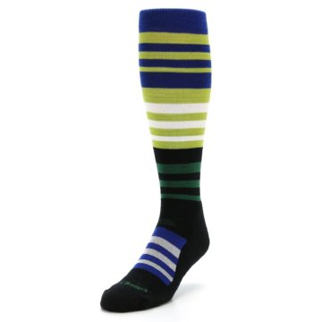 Image of Lime Blue Stripe Wool Men's Over-the-Calf Ski Socks (side-2-front-07)