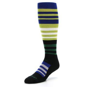 Image of Lime Blue Stripe Wool Men's Over-the-Calf Ski Socks (side-2-front-08)