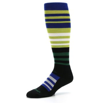 Image of Lime Blue Stripe Wool Men's Over-the-Calf Ski Socks (side-2-09)