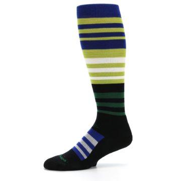 Image of Lime Blue Stripe Wool Men's Over-the-Calf Ski Socks (side-2-10)