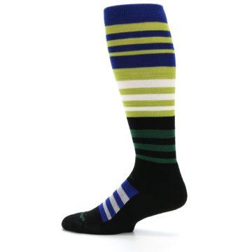 Image of Lime Blue Stripe Wool Men's Over-the-Calf Ski Socks (side-2-12)