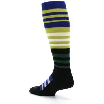Image of Lime Blue Stripe Wool Men's Over-the-Calf Ski Socks (side-2-back-14)